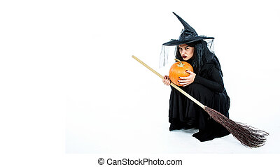 Witch with Broom and Pumpkin