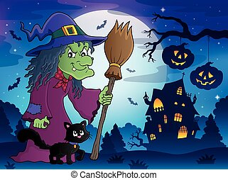 Witch with cat and broom theme