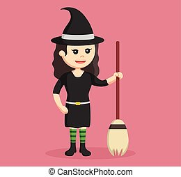 witch with her broom