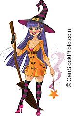 Witch with magic wand and broom - Young witch with magic...