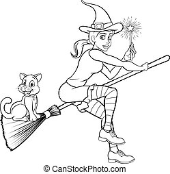 Witch with Magic Wand and Cat on Broomstick
