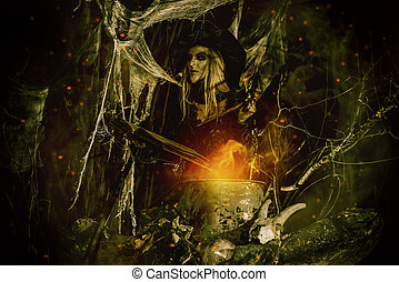 witch with magical book