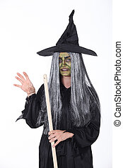 Witch with pointy hat