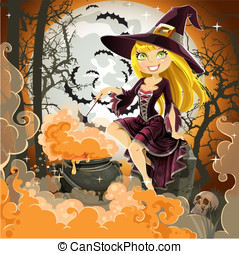Witch with potion in the pot sits in the cemetery on...