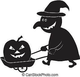 Witch with pumpkin, silhouette