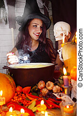 Witch with skull