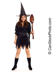 witch with spoon - pretty wizard posing on a white ...