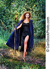 witch with with torches