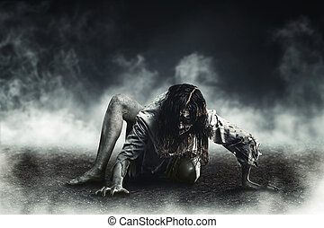 Witch zombie - Horror witch zombie against the background of...