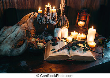Witchcraft, dark magic, candles with ritual book on the