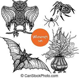 Witchcraft Doodle Set - Witchcraft doodle set with hand...