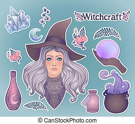 Witchcraft set. Pretty witch in magic hat, ouija planchette , cauldron, crystal ball, poison bottle, herbs and flowers Alchemy, tattoo art, t-shirt design, sticker, magic book. Vector. Illustration.