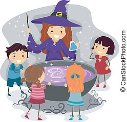 Witchcraft - Illustration of Kids Watching a Witch Cast a...