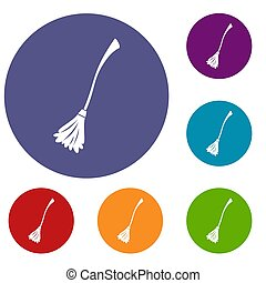 Witches broom icons set