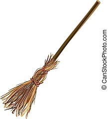 Witches broom stick. Old broom. Halloween accessory object....