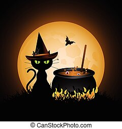 witches cauldron - silhouette of black witches cat with...