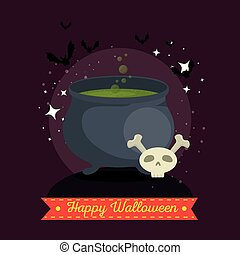 witches cauldron with green potion