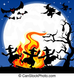 witches dancing around fire at halloween - vector...