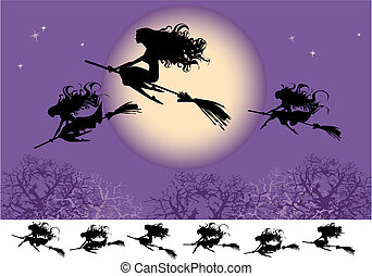 Witches fly on Halloween