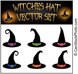 witches hat. - Vector set of Halloween witches hat...