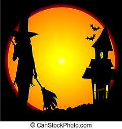 Witches House - Eerie Halloween scene with moon and witches...