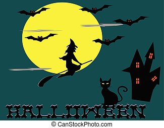 Witches riding brooms,moon,bat,cat,castle, Halloween   alphabet on blue background