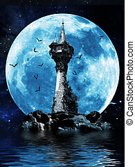 Witches tower - Halloween image of a dark mysterious tower...
