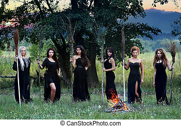 witches with brooms