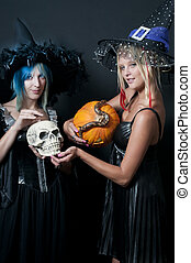 Witches with Snake and Skull