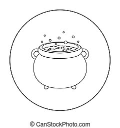 Witch cauldron outline icon on white background vectors ...