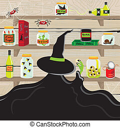 Witch's Magic Pantry - Witch in the pantry kitchen with...