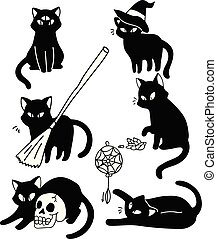 Witchy Cats Vector Illustration Mystic Familiar Character...