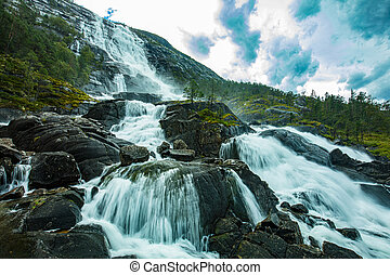 Langfoss (Langfossen) is the fifth highest waterfall in Norway.