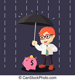 with., argent, umbrella., bank., piggy., saving., 233.businessman., protecting-his.