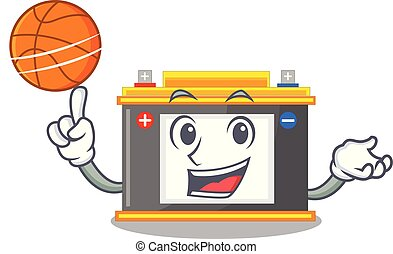 With basketball accomulator in the a character shape vector...