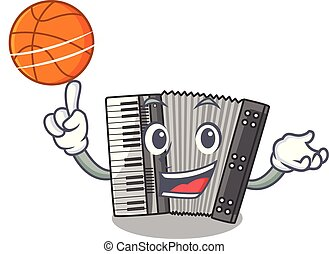 With basketball according cartoons in the music room vector...