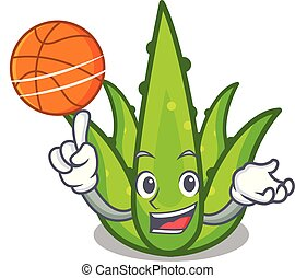 With basketball aloevera character cartoon style