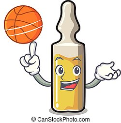 With basketball ampoule character cartoon style vector...