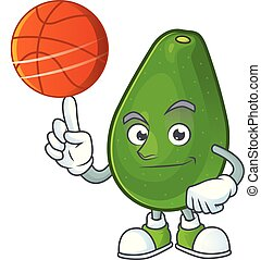 With basketball avocado fruit character on white background...