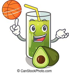 With basketball avocado smoothies in a mascot glass vector...