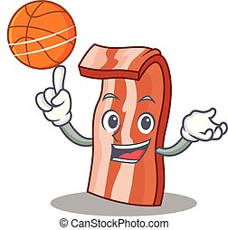 With basketball bacon character cartoon style vector...