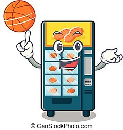 With basketball bakery vending machine isolated the cartoon...