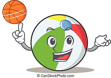 With basketball ball character cartoon style
