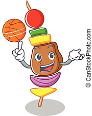 With basketball barbecue character cartoon style