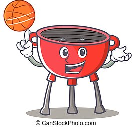 With Basketball Barbecue Grill Cartoon Character
