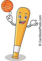With basketball baseball bat character cartoon