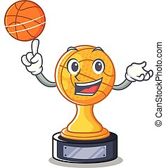 With basketball basketball trophy isolated in the mascot...