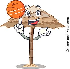 With basketball beach shelter buildings with palm cartoon...