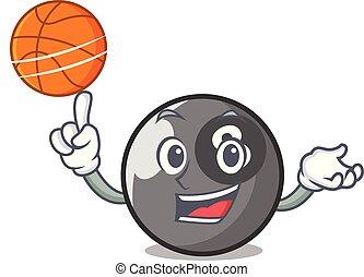 With basketball billiard ball character cartoon