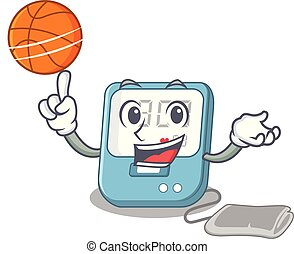 With basketball blood pressure isolated with the character vector illustration
